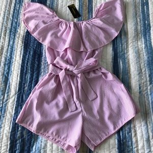 Off-Shoulder Pink Stripe Romper with Belt